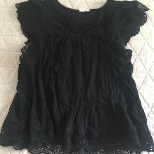 GAP Black Crochet Lace Boho Flutter Sleeve Top L